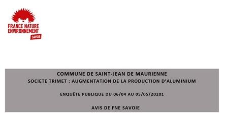 Read more about the article TRIMET : AUGMENTATION DE LA PRODUCTION D'ALUMINIUM –  AVIS DE FNE SAVOIE
